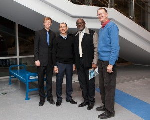 (left to right) Brian Bersh (host), Alan Baylock (judge), Bob Stewart (judge), Bryan Kidd (judge)
