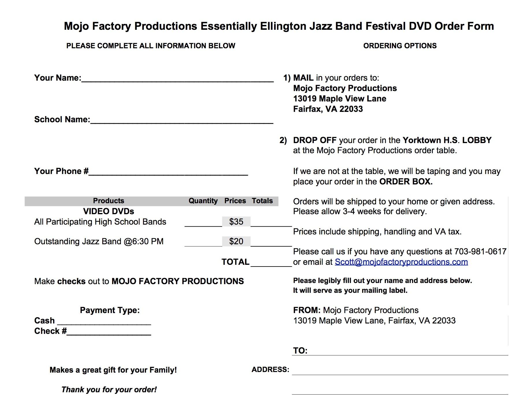 event order form